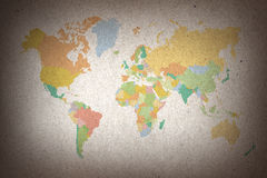 Colorful world map on brown paper background Stock Photography
