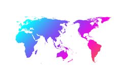 Colorful world map vector gradient design, Asia in center royalty free illustration