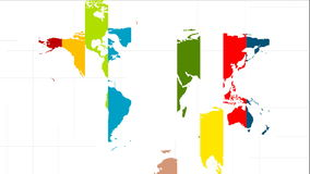 Colorful world map video animation with labels stock video footage