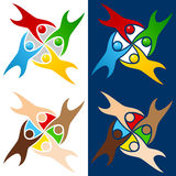 Colorful World People Logo. In four different versions. Peace, unity and diversity concept. Eps file available Stock Photos