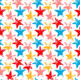 Colorful worn out grunge stars prints seamless pattern, vector Stock Photos