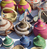 Colorful baskets. Colorful woven baskets made from palm fibers and made by hand royalty free stock image