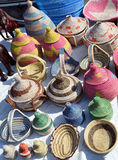 Ornamental baskets. Colorful woven baskets made from palm fibers and made by hand stock images