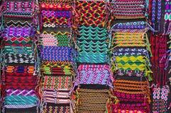 Colorful woven bracelets, Latin America. Colorful woven bracelets for sale, Latin America Royalty Free Stock Image