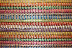 Colorful Woven Stripes on a Wicker Basket Royalty Free Stock Photography