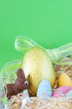 Colorful wrapped chocolate Easter eggs Stock Images