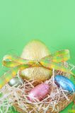 Colorful wrapped chocolate Easter eggs Royalty Free Stock Photography