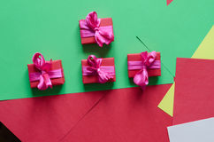 Colorful wrapped gift boxes Stock Image