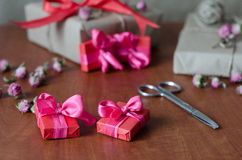 Colorful wrapped gift boxes Royalty Free Stock Photos
