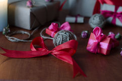 Colorful wrapped gift boxes Stock Photos