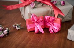 Colorful wrapped gift boxes Royalty Free Stock Photography