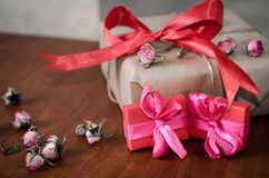 Colorful wrapped gift boxes Royalty Free Stock Images