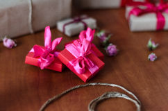 Colorful wrapped gift boxes Stock Photography