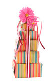 Colorful wrapped presents and flowers Royalty Free Stock Image