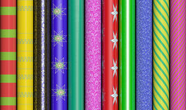 Colorful Wrapping Paper. Row of colorful wrapping paper Stock Images