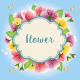 Wreath colored flower template vector illustration