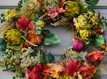 Colorful wreath on door Stock Image