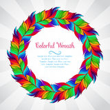 Colorful wreath of rainbow feathers Royalty Free Stock Photo