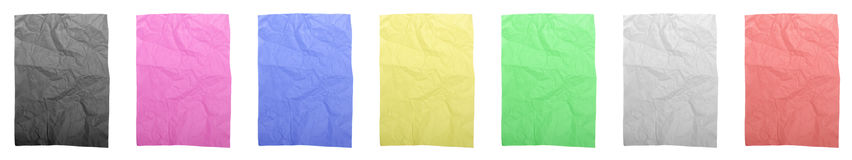 Colorful wrinkled papers Stock Images