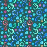 Colorful watercolor music notes seamless pattern on dark background. stock illustration