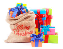 Colorful Xmas background with Santas gift sack Royalty Free Stock Images