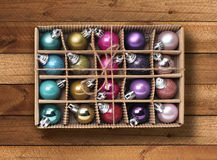 Colorful Xmas balls in box Royalty Free Stock Photo