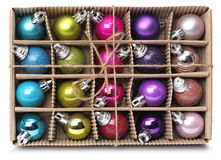 Colorful Xmas balls box Stock Photo