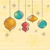 Colorful Xmas Balls for Merry Christmas celebration. Royalty Free Stock Image