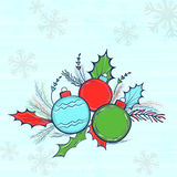 Colorful Xmas Balls for Merry Christmas celebration. Colorful Xmas Balls with fir tree branches on Snowflakes decorated background for Merry Christmas Royalty Free Stock Photography