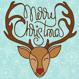 Colorful xmas greeting card with head of reindeer Royalty Free Stock Photo