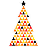 Colorful Xmas Mosaic Tree. Abstract Xmas Tree made from colorful triangles. Vector Illustration Royalty Free Stock Images
