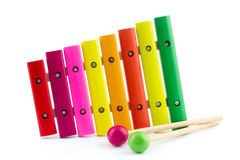 Colorful xylophone with sticks Royalty Free Stock Photo