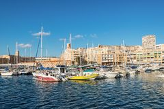 Colorful yacht harbour in old city of Marseilles, France. Marseille, France - December 4, 2016: Picturesque colorful yacht Old Vieux Port in center of Marseilles Royalty Free Stock Images
