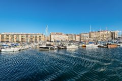 Colorful yacht harbour in old city of Marseilles, France Royalty Free Stock Photos