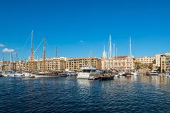 Colorful yacht harbour in old city of Marseilles, France Royalty Free Stock Image