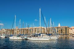 Colorful yacht harbour in old city of Marseilles, France Royalty Free Stock Photo
