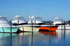 Colorful Yachts Boats Marina Waterway Luxury Royalty Free Stock Photos