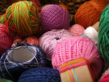 Colorful Yarn. Assorted colorful yarn inside a basket Royalty Free Stock Photos