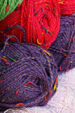 Colorful Yarn. Macro of red, blue and green yarn skiens royalty free stock image