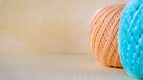 Colorful yarn balls with copy space for text. Selective focuse Stock Images