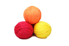 Colorful yarn balls over white Stock Photos