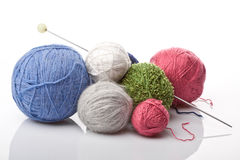Colorful yarn balls on white Royalty Free Stock Photo