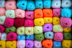 Colorful of Yarn Balls Wool in a Fabric Shop Stock Photography