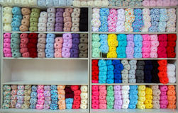 Colorful of Yarn Balls Wool in a Fabric Shop Stock Images