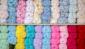 Colorful of Yarn Balls Wool in a Fabric Shop Stock Photo