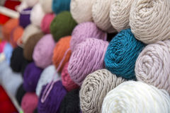 Colorful of Yarn Balls Wool in a Fabric Shop Stock Image