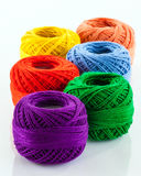 Colorful yarn. A close up of several balls of colourful yarn stock images