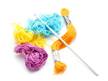 Crochet. Colorful yarn with crochet isolated on white background stock photo