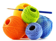 Colorful yarn for crocheting and hook on white Royalty Free Stock Photo