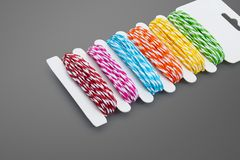 Colorful yarn on gray background. Template of Colors rope. royalty free stock photo